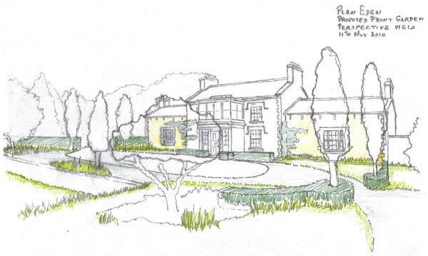 Design Drawing Of The Landscape Restoration A Country Garden